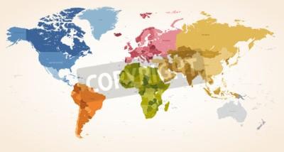 Quadro Un Vintage colori ad alta dettaglio vettore illustrazione mappa di tutta la mappa del mondo.