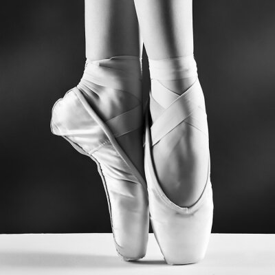 Quadro Una foto di punta della ballerina su sfondo nero