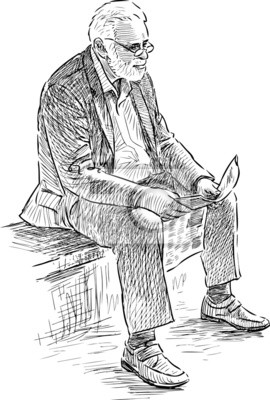 Uomo anziano legge un giornale dipinti da parete • quadri vecchi, monocolo,  vecchio | myloview.it
