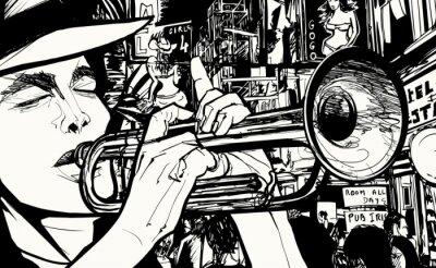 Quadro uomo che suona la tromba in un quartiere a luci rosse