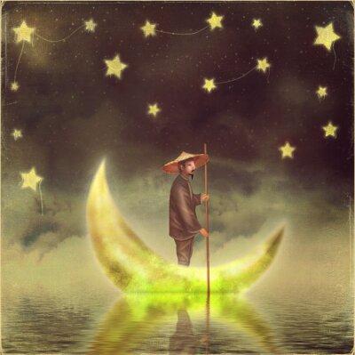 Quadro uomo cinese si trova sulla luna a nebbia mattutina