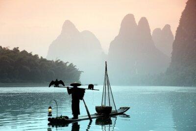 Quadro Uomo di pesca cinese con cormorani uccelli