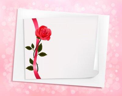 Vacanza Sfondo Con Foglio Di Carta E Una Rosa Vector Illust Dipinti