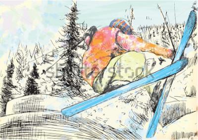 Quadro Vacanze invernali - sciatore. Vector diversi strati illustrazioni disegnate a mano. Almeno quattro strati in ogni immagine. Gli strati di colore sono al massimo di sedici colori. Profili neri in un s