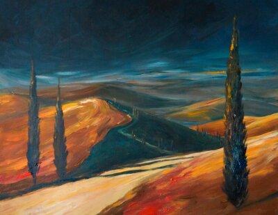 Quadro Valle della Toscana al tramonto. Immagine creata con acrilici.