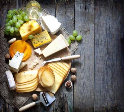 Quadro Vari tipi di formaggio con spazio vuoto, fondo, concetto