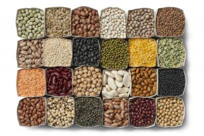 Quadro Varietà di fagioli secchi e lenticchie