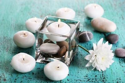 Quadro Vaso decorativo con candele, acqua e pietre