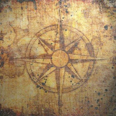 Quadro Vecchia bussola sulla carta di sfondo