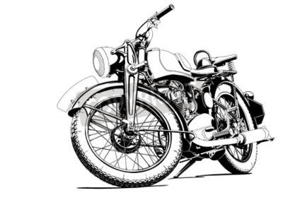 Quadro vecchia illustrazione moto