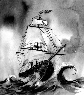 Quadro Vecchia nave in mare in tempesta