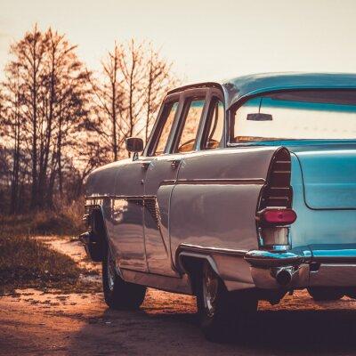 Quadro Vecchia retro o in auto d'epoca retro. Lavorazione effetto vintage