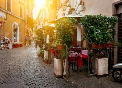 Quadro Vecchia via in Trastevere a Roma, Italia