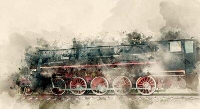 Quadro Vecchie locomotive a vapore del XX secolo. Priorità bassa dell'acquerello