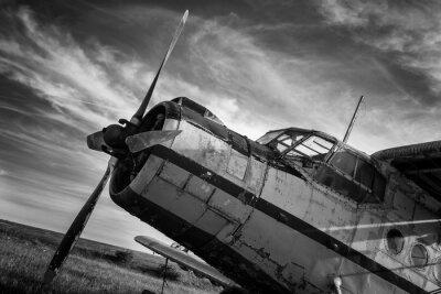 Quadro Vecchio aereo sul campo in bianco e nero