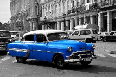 Quadro Vecchio blu auto americana a L'Avana, Cuba