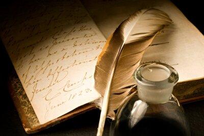 Quadro Vecchio libro con penna e calamaio