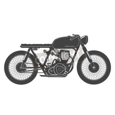 Quadro Vecchio moto d'epoca. caffè tema racer.