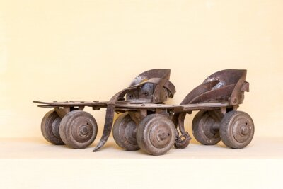 Quadro Vecchio paio di pattini a rotelle