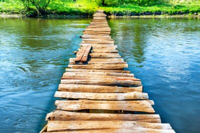 Quadro Vecchio ponte di legno attraverso il fiume