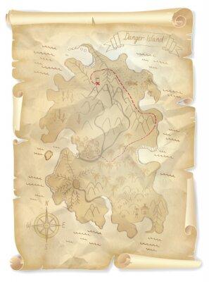 Quadro Vecchio programma pirati isola del tesoro con la posizione marcata, illustrazione vettoriale