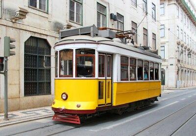 Quadro Vecchio tram di Lisbona giallo, Portogallo