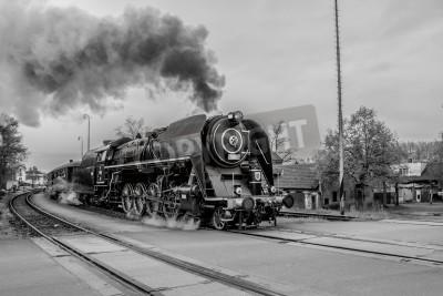 Quadro Vecchio treno a vapore in bianco e nero