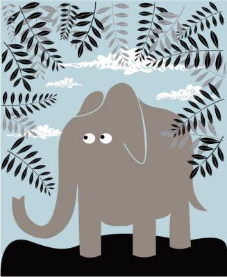 Quadro Vector background con elefante e fogliame