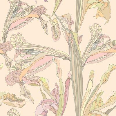 Quadro vector background senza soluzione di fiori delicati iris su sfondo beige