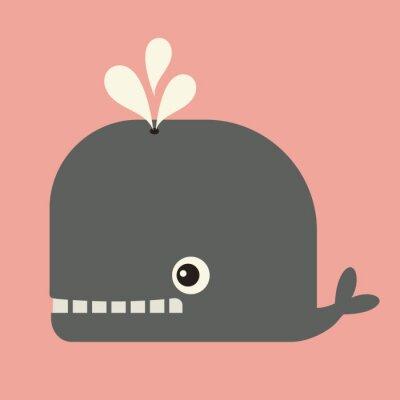 Quadro vector carino balena