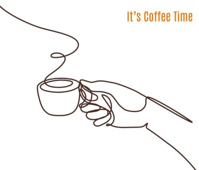 Quadro Vector coffee illustration drawn with one line. Hand with a cup of coffee.
