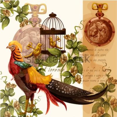 Quadro Vector digital illustrazione ad acquerello con firenze leone e fagiano ideale per stampe tessili e decorazioni