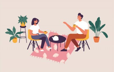 Quadro Vector illustration couple sitting at the table, drinking tea or coffee and talking. Romantic date in a cafe.