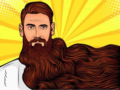 Quadro Vector l'illustrazione di arte di schiocco di un uomo barbuto brutale, macho con barba molto lunga sopra tutta l'immagine