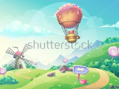 Quadro Vector l'illustrazione di un paesaggio con il laminatoio della caramella della marmellata d'argento e la volpe in piccolo dirigibile. Per la stampa, creare video o grafica web, interfaccia uten