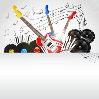 Quadro Vector musica di sottofondo con strumenti e attrezzature musicali