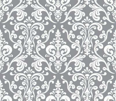 Quadro Vector. Seamless elegante motivo damascato. Grigio e bianco