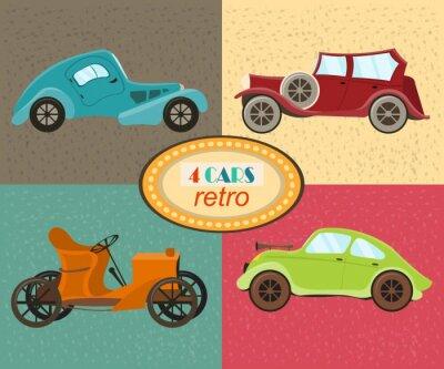Quadro Vector set di quattro auto retrò. veicoli traffico urbano. Le icone che caratterizzano le automobili moderne e retrò, vecchio stile auto d'epoca. automobili multicolori retrò. Isolato. illustrazione d