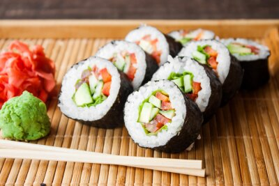 Quadro vegetariano sushi roll