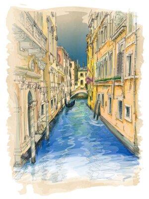 Quadro Venezia - canale d'acqua, edifici antichi e gondola di distanza