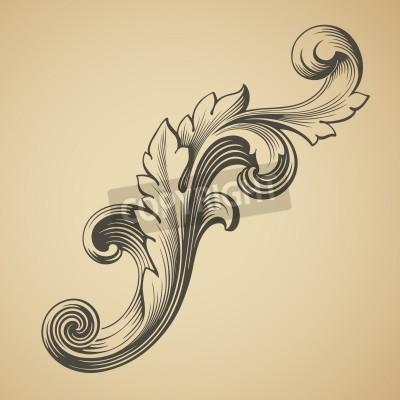 Quadro vettore elemento barocco modello telaio design incisione stile retrò