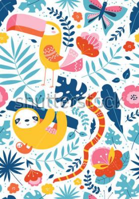 Quadro Vettore senza cuciture con personaggi animali carini, Tucano, bradipo, serpente, farfalla