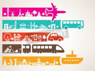 Quadro viaggi nel mondo con diversi tipi di trasporto, set di punti di riferimento