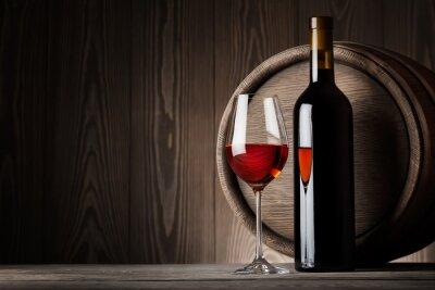 Quadro Vino rosso in vetro con la bottiglia