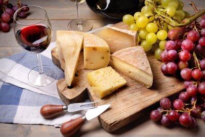 Quadro Vino rosso, uva e formaggio