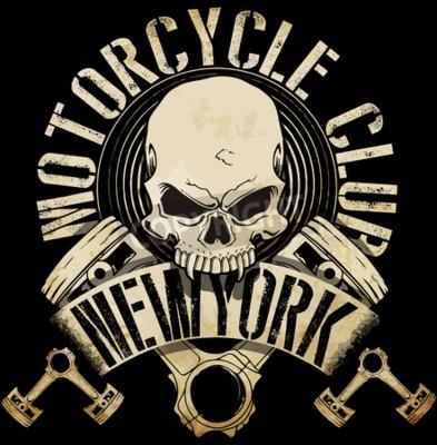 Quadro Vintage Biker Skull Emblem Tee grafica