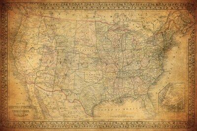 Quadro Vintage mappa degli Stati Uniti 1867