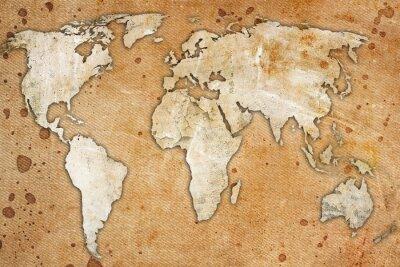 Quadro Vintage mappa del mondo