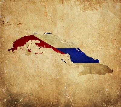 Quadro Vintage mappa di Cuba sul documento del grunge