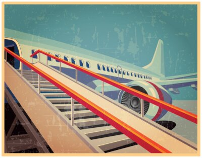 Quadro Vintage poster con l'aereo